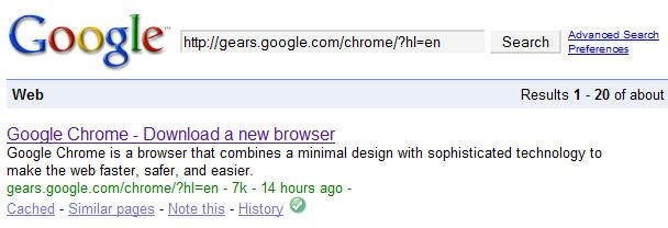 Google Chrome info on Google Search