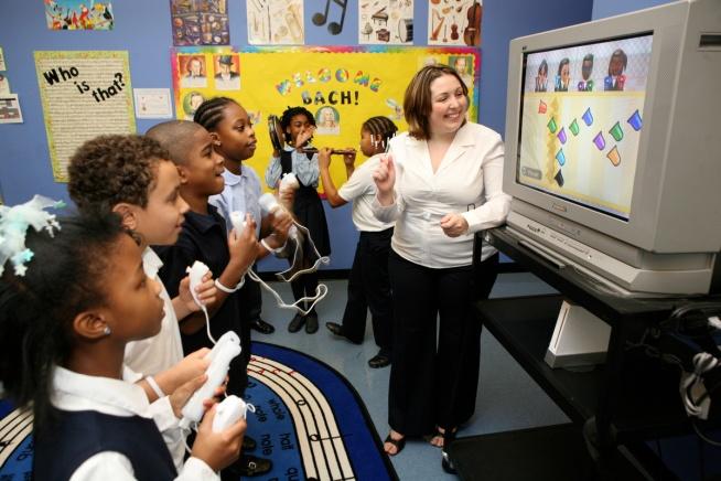 Wii Music at St. Philip's Academy with instructor Eileen Jahn